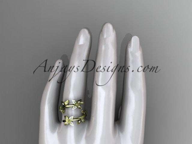 14k yellow gold diamond leaf and vine wedding ring,engagement ring,wedding band ADLR27 - AnjaysDesigns
