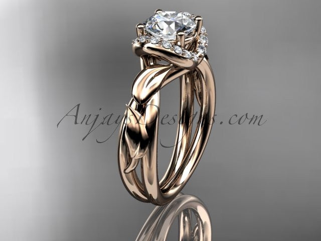 "14kt rose gold diamond leaf and vine wedding ring, engagement ring with a ""Forever One"" Moissanite center stone ADLR289 - AnjaysDesigns"