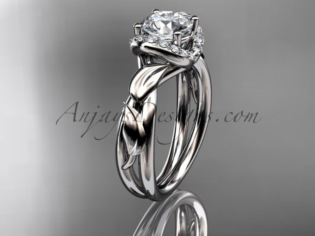 "Platinum diamond leaf and vine wedding ring, engagement ring with a ""Forever One"" Moissanite center stone ADLR289 - AnjaysDesigns"