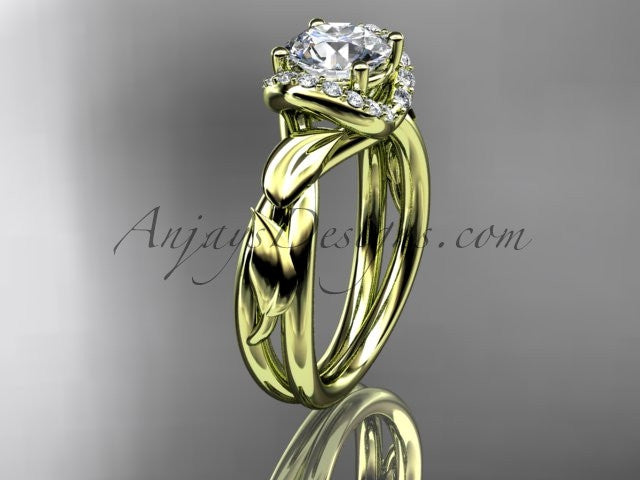"14kt yellow gold diamond leaf and vine wedding ring, engagement ring with a ""Forever One"" Moissanite center stone ADLR289 - AnjaysDesigns"