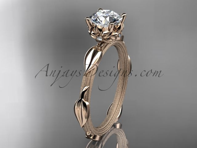 "14k rose gold diamond vine and leaf wedding ring, engagement ring with a ""Forever One"" Moissanite center stone ADLR290 - AnjaysDesigns"