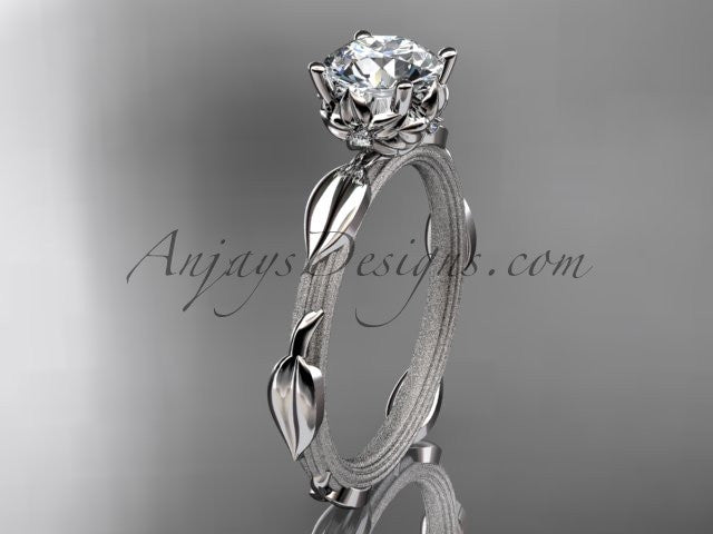"14k white gold diamond vine and leaf wedding ring, engagement ring with a ""Forever One"" Moissanite center stone ADLR290 - AnjaysDesigns"