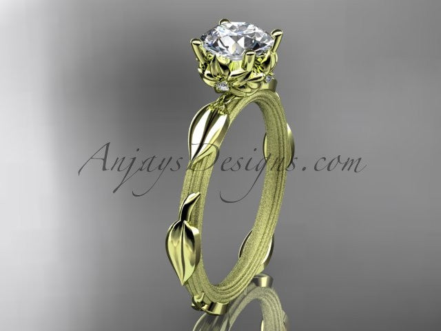 "14k yellow gold diamond vine and leaf wedding ring, engagement ring with a ""Forever One"" Moissanite center stone ADLR290 - AnjaysDesigns"