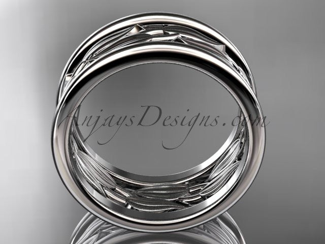 14kt white gold leaf and vine wedding ring,engagement ring,wedding band ADLR293 - AnjaysDesigns