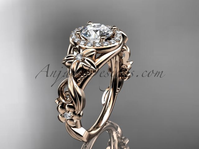 "14kt rose gold diamond unique engagement ring, wedding ring with a ""Forever One"" Moissanite center stone ADLR300 - AnjaysDesigns"