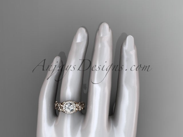 14kt rose gold diamond unique engagement ring, wedding ring ADLR300 - AnjaysDesigns