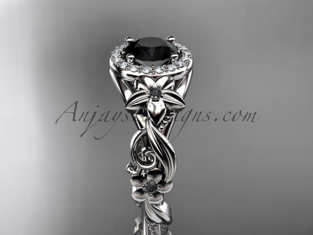 14kt white gold diamond unique engagement ring, wedding ring with a Black Diamond center stone ADLR300 - AnjaysDesigns
