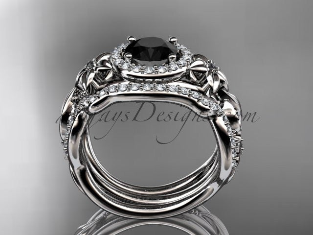 Platinum diamond unique engagement set, wedding set with a Black Diamond center stone ADLR300 - AnjaysDesigns