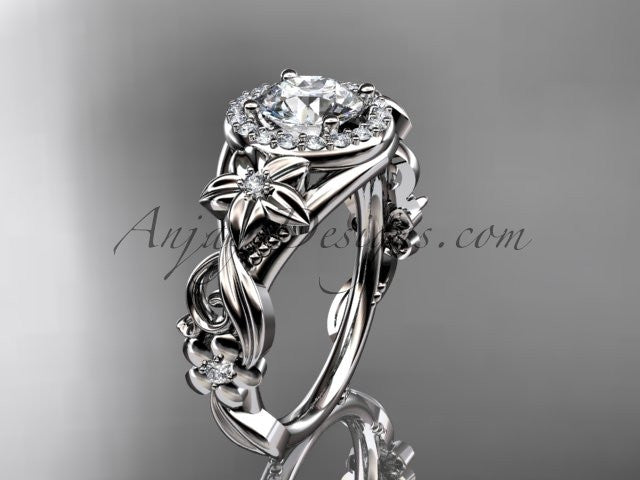 "Platinum diamond unique engagement ring, wedding ring with a ""Forever One"" Moissanite center stone ADLR300 - AnjaysDesigns"
