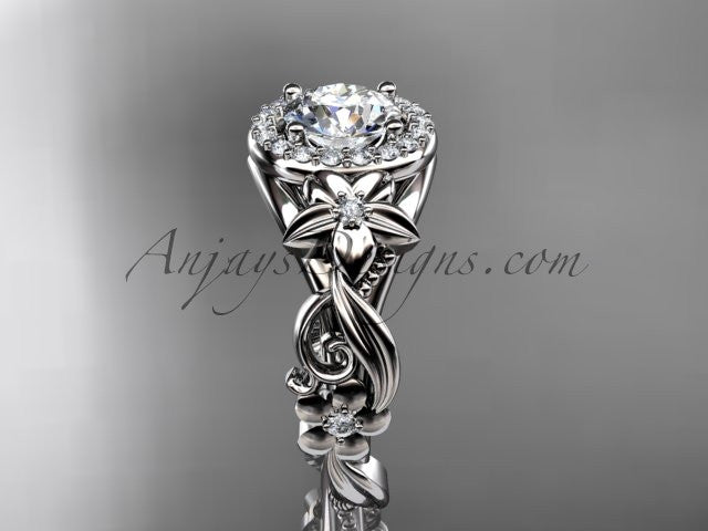 14kt white gold diamond unique engagement ring, wedding ring ADLR300 - AnjaysDesigns