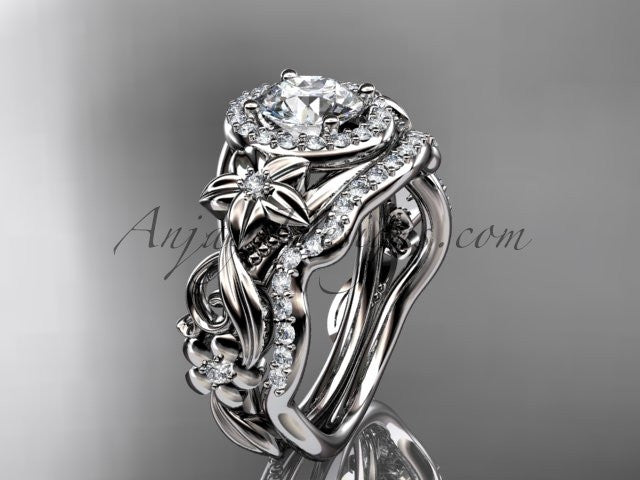 14kt white gold diamond unique engagement set, wedding set, ADLR300 - AnjaysDesigns