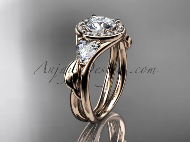 14kt rose gold diamond unique engagement ring, wedding ring ADLR314 - AnjaysDesigns