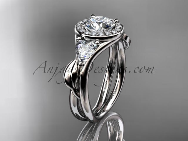 Platinum diamond unique engagement ring, wedding ring ADLR314 - AnjaysDesigns