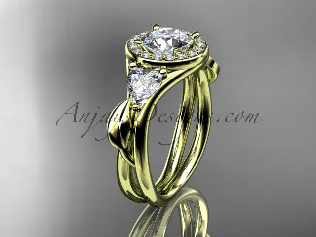 14kt yellow gold diamond unique engagement ring, wedding ring ADLR314 - AnjaysDesigns
