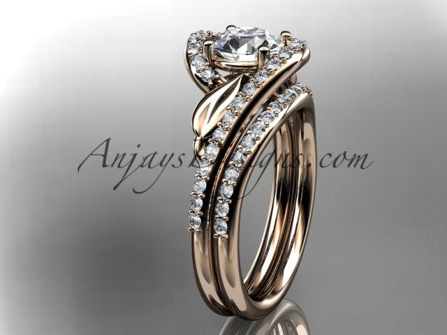 14k rose gold diamond leaf and vine wedding ring, engagement set ADLR317S - AnjaysDesigns, Engagement Sets - Jewelry, Anjays Designs - AnjaysDesigns, AnjaysDesigns - AnjaysDesigns.co,