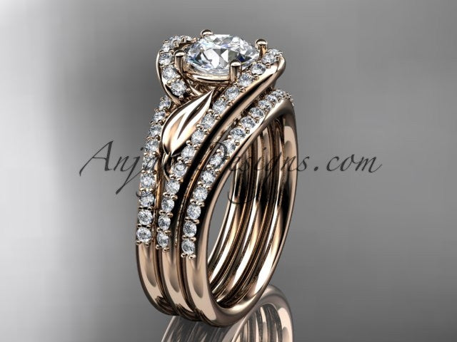 14k rose gold diamond leaf and vine wedding ring, engagement ring with a double matching band ADLR317S - AnjaysDesigns