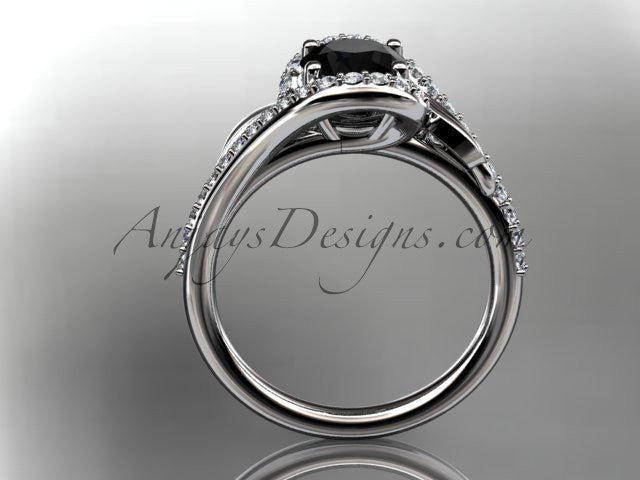 14k white gold diamond leaf and vine wedding ring, engagement ring with a Black Diamond center stone ADLR317 - AnjaysDesigns
