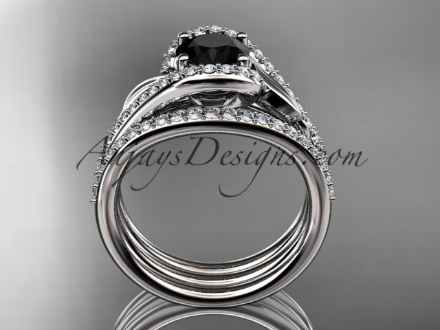 14k white gold diamond leaf wedding ring with a Black Diamond center stone and double matching band ADLR317S - AnjaysDesigns
