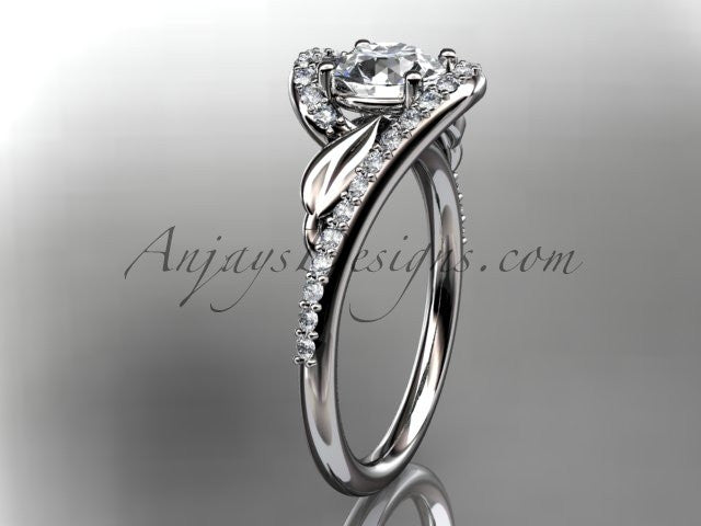 "14k white gold diamond leaf and vine wedding ring, engagement ring with a ""Forever One"" Moissanite center stone ADLR317 - AnjaysDesigns"