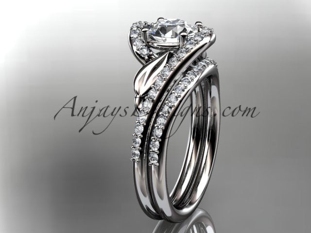 14k white gold diamond leaf and vine wedding ring, engagement set ADLR317S - AnjaysDesigns