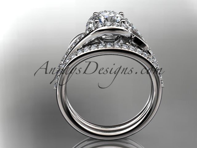 "14k white gold diamond leaf and vine wedding ring, engagement set with a ""Forever One"" Moissanite center stone ADLR317S - AnjaysDesigns"
