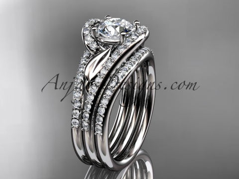 14k white gold diamond leaf and vine wedding ring, engagement ring with a double matching band ADLR317S - AnjaysDesigns