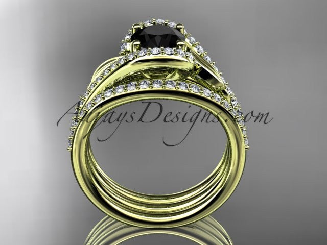 14k yellow gold diamond leaf wedding ring with a Black Diamond Moissanite center stone and double matching band ADLR317S - AnjaysDesigns