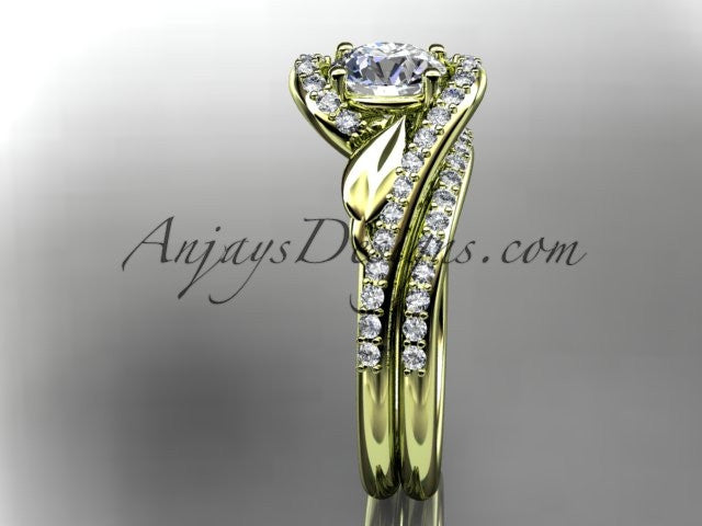 14k yellow gold diamond leaf and vine wedding ring, engagement set ADLR317S - AnjaysDesigns
