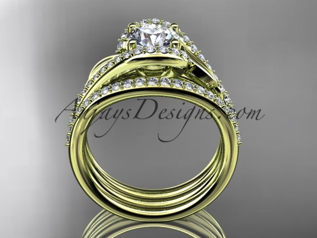 "14k yellow gold diamond leaf wedding ring with a ""Forever One"" Moissanite center stone and double matching band ADLR317S - AnjaysDesigns"