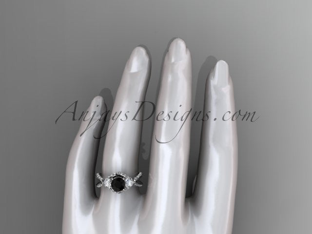 Unique platinum diamond wedding ring, engagement ring with a Black Diamond center stone ADLR318 - AnjaysDesigns