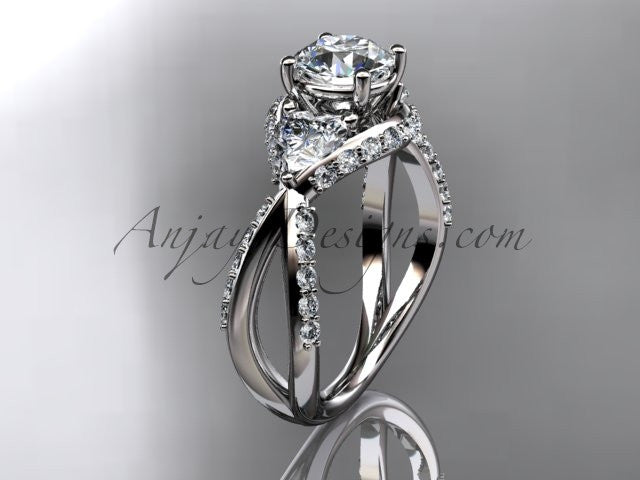 Unique 14kt white gold diamond wedding ring, engagement ring ADLR318 - AnjaysDesigns
