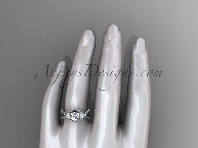 "Unique 14kt white gold diamond wedding ring, engagement ring with a ""Forever One"" Moissanite center stone ADLR318 - AnjaysDesigns"