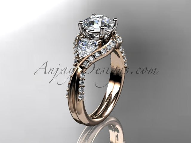 Unique 14kt rose gold diamond wedding ring, engagement ring  ADLR319 - AnjaysDesigns