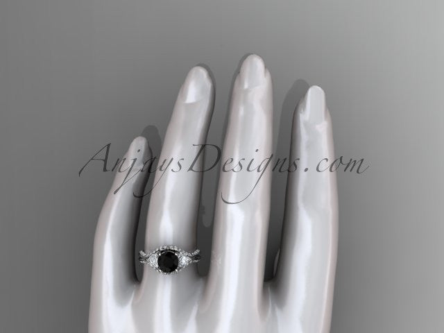 Unique 14kt white gold diamond wedding ring, engagement ring with a Black Diamond center stone ADLR319 - AnjaysDesigns
