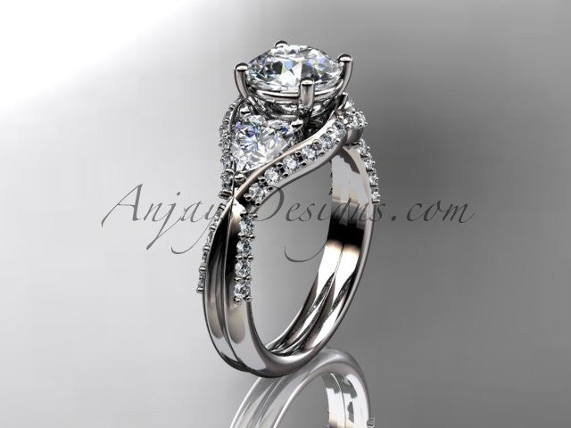 Unique 14kt white gold diamond wedding ring, engagement ring  ADLR319 - AnjaysDesigns