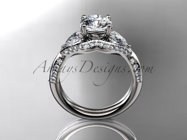 Unique platinum diamond wedding ring, engagement ring  ADLR319 - AnjaysDesigns