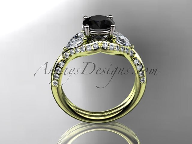 Unique 14kt yellow gold diamond wedding ring, engagement ring with a Black Diamond center stone ADLR319 - AnjaysDesigns