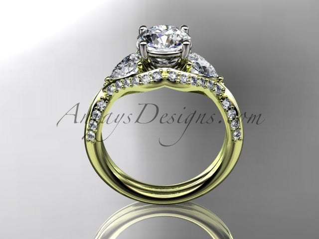 "Unique 14kt yellow gold diamond wedding ring, engagement ring with a ""Forever One"" Moissanite center stone ADLR319 - AnjaysDesigns"