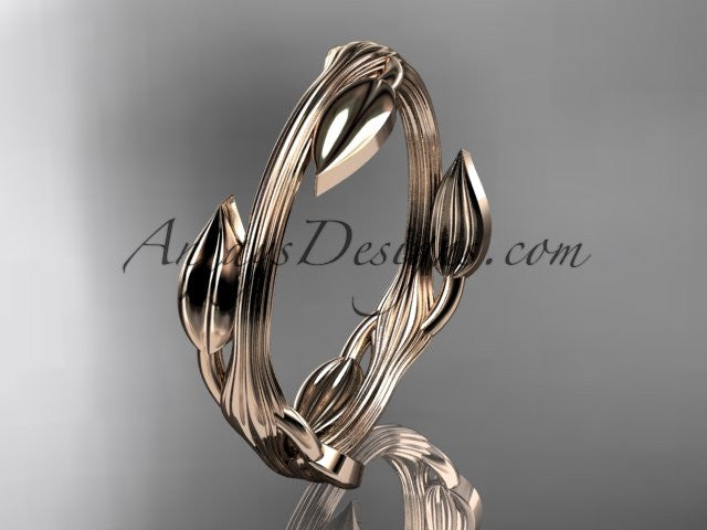 14kt rose gold leaf and vine wedding ring, engagement ring ADLR31A - AnjaysDesigns