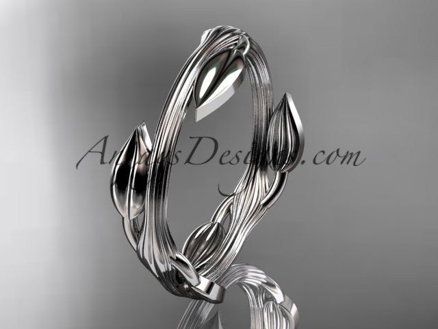 Platinum diamond leaf and vine wedding ring,engagement ring ADLR31 - AnjaysDesigns