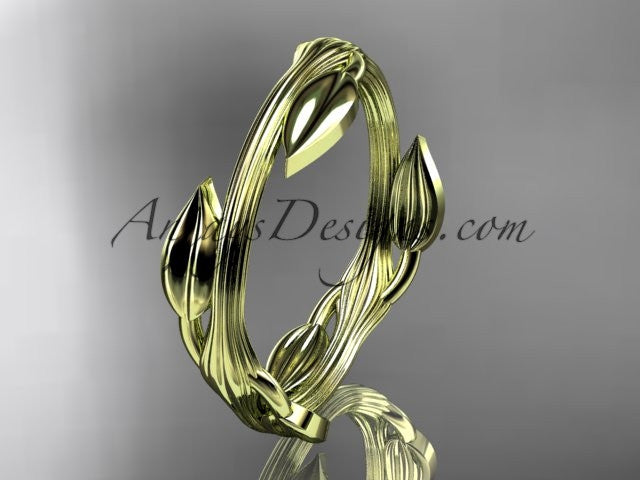 14kt yellow gold leaf and vine wedding ring, engagement ring ADLR31A - AnjaysDesigns