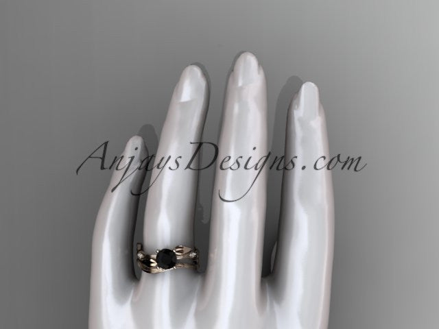 14k rose gold diamond leaf and vine wedding ring set, engagement ring set with Black Diamond center stone ADLR31S - AnjaysDesigns, Black Diamond Engagement Sets - Jewelry, Anjays Designs - AnjaysDesigns, AnjaysDesigns - AnjaysDesigns.co,