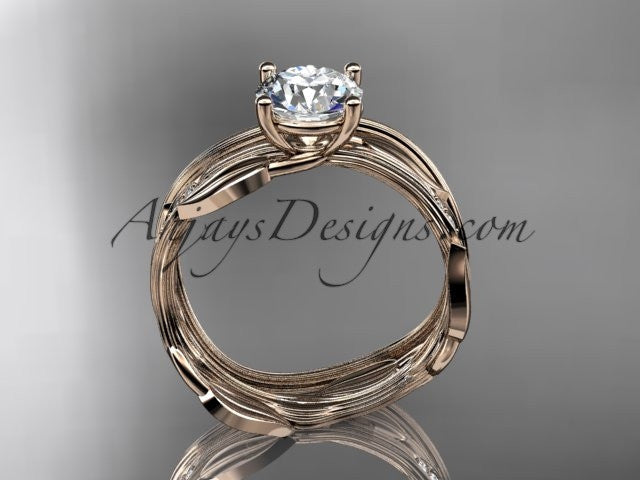 14k rose gold diamond leaf and vine wedding ring set, engagement ring set ADLR31S - AnjaysDesigns, Engagement Sets - Jewelry, Anjays Designs - AnjaysDesigns, AnjaysDesigns - AnjaysDesigns.co,