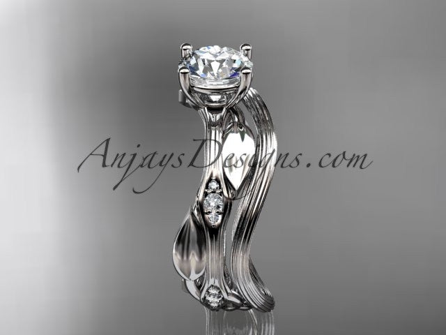 "14k white gold diamond leaf and vine wedding ring set, engagement ring set with ""Forever One"" Moissanite center stone ADLR31S - AnjaysDesigns"