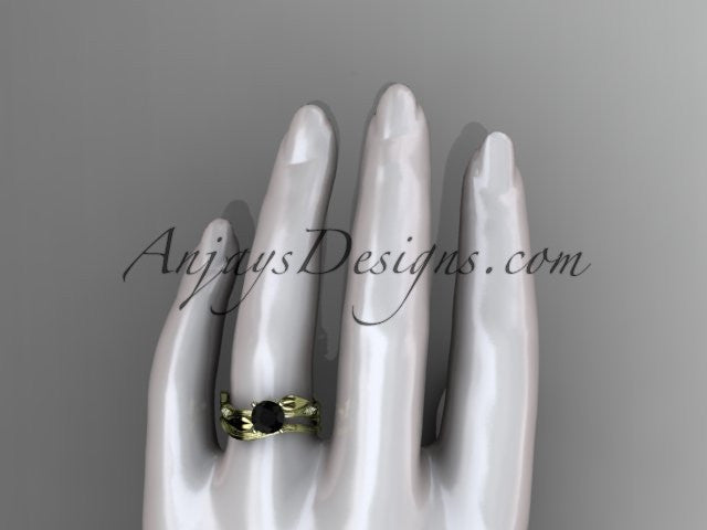 14k yellow gold diamond leaf and vine wedding ring set, engagement ring set with Black Diamond center stone ADLR31S - AnjaysDesigns
