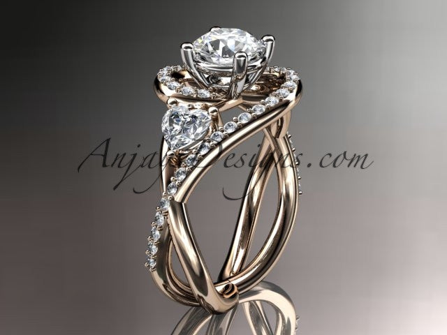 Unique 14kt rose gold diamond engagement ring, wedding band ADLR320 - AnjaysDesigns
