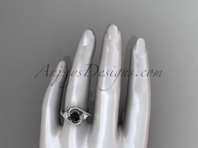 Unique 14kt white gold diamond engagement ring, wedding band with a Black Diamond center stone ADLR320 - AnjaysDesigns