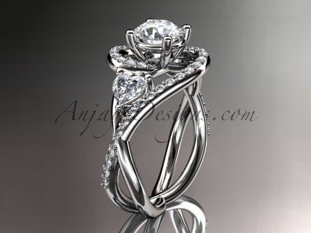 """Unique 14kt white gold diamond engagement ring, wedding ring with a """"Forever One"""" Moissanite center stone ADLR320 - AnjaysDesigns"""