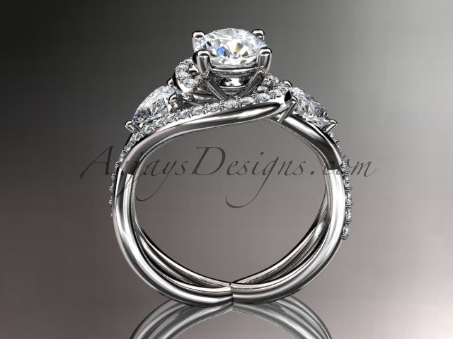 "Unique platinum diamond engagement ring, wedding ring with a ""Forever One"" Moissanite center stone ADLR320 - AnjaysDesigns"