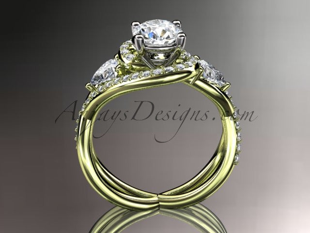 Unique 14kt yellow gold diamond engagement ring, wedding band ADLR320 - AnjaysDesigns